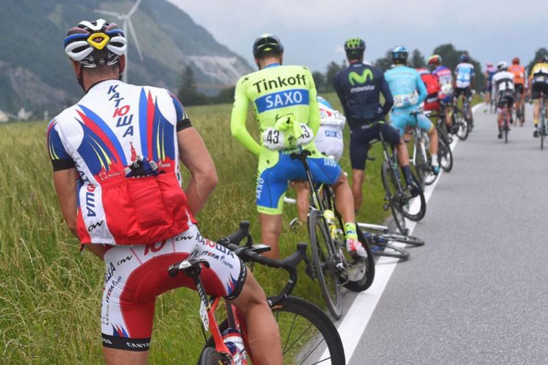 Ciclistas em prova